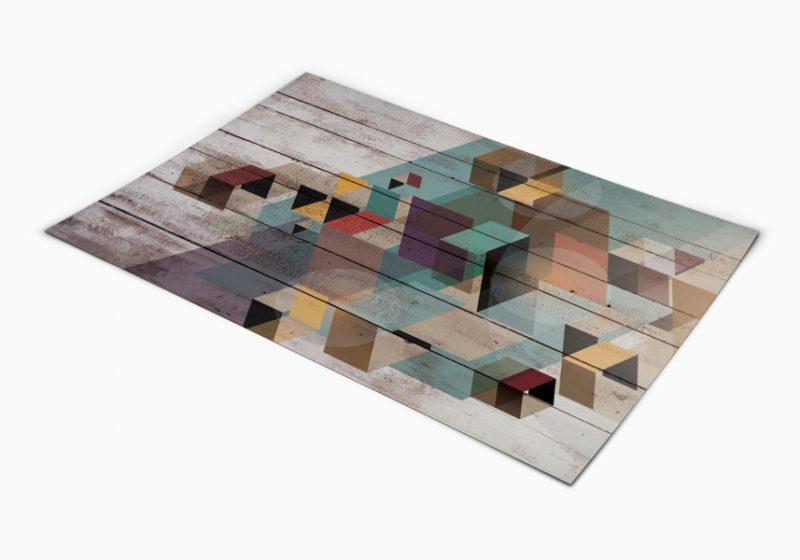 שטיח פי וי סי למטבח דגם פרקט מעוינים
