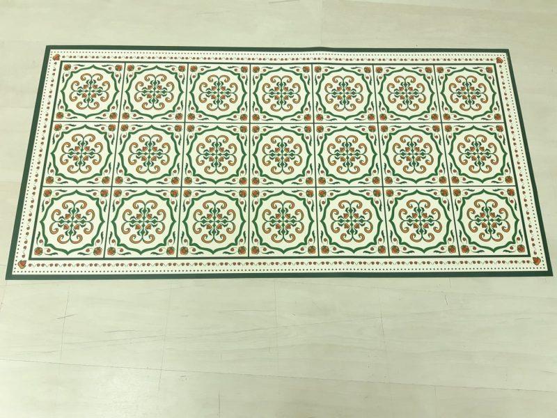 שטיח פי וי סי למטבח דגם ענתיק ירוק בהנחה