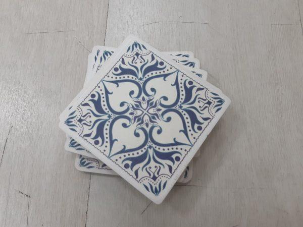סט תחתיות לכוסות מעץ דגם כחול מלכותי בהנחה