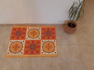 שטיח PVC דגם ענתיק כתום וצהוב