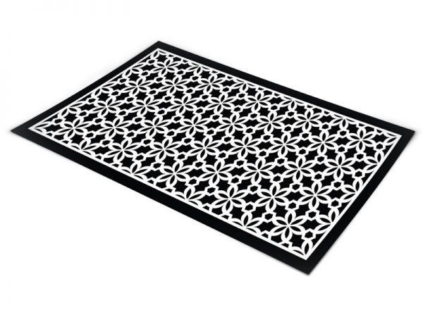 שטיח פי וי סי לסלון דגם פרחוני שחור ולבן