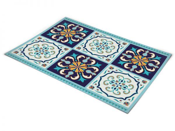 שטיח פי וי סי למטבח דגם ענתיק כחול ותכלת בהנחה