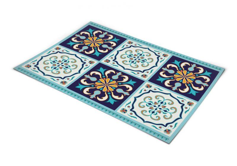 שטיח פי וי סי למטבח דגם ענתיק כחול ותכלת