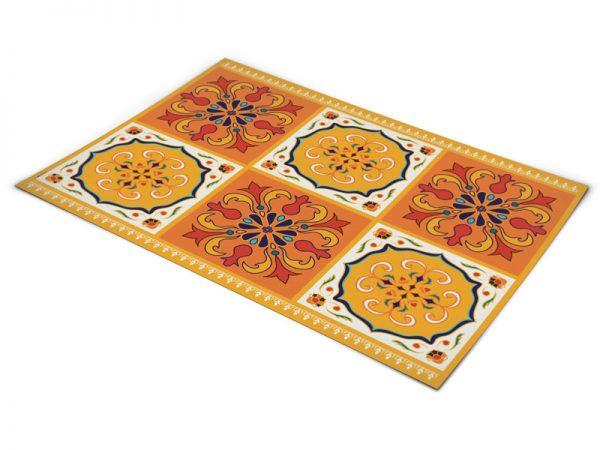 שטיח פי וי סי למטבח דגם ענתיק כתום וצהוב בהנחה