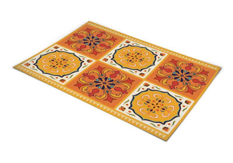 שטיח פי וי סי למטבח דגם ענתיק כתום וצהוב