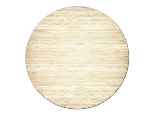 מפה פי וי סי עגולה דגם עץ בהיר