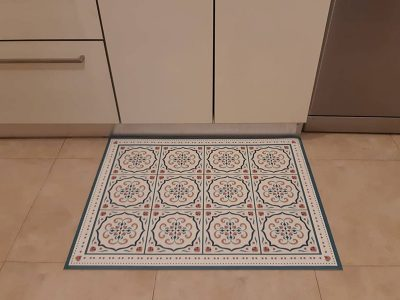שטיח PVC למטבח דגם ענתיק טורקיז