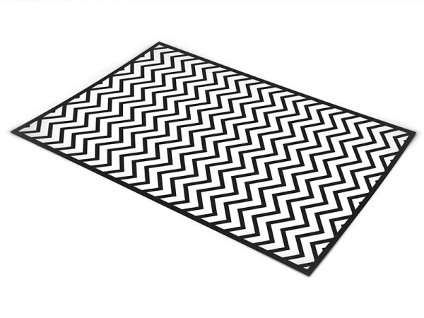 שטיח פי וי סי לסלון דגם זיגזג שחור ולבן