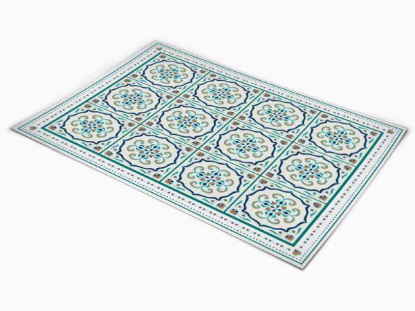 שטיח פי וי סי למטבח דגם ענתיק טורקיז
