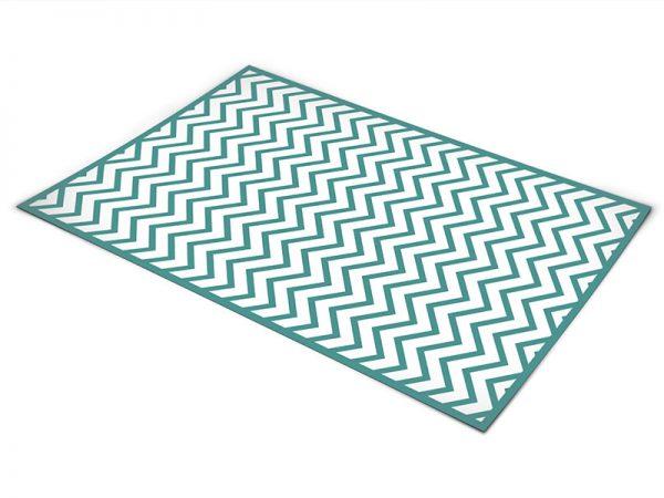 שטיח פי וי סי לסלון דגם זיגזג טורקיז ולבן