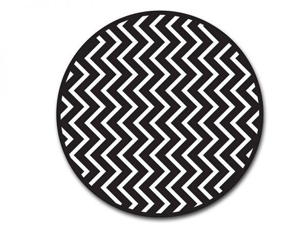 שטיח פי וי סי עגול לסלון דגם זיגזג שחור ולבן