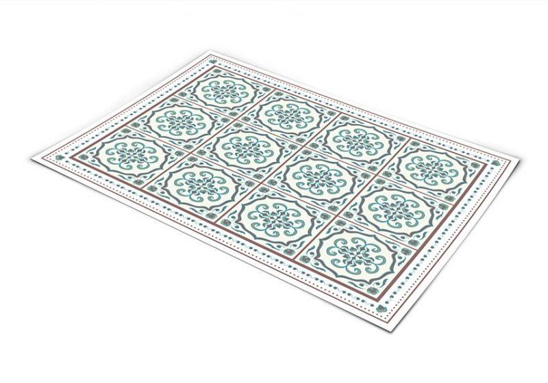 שטיח פי וי סי למטבח דגם ענתיק חום וטורקיז