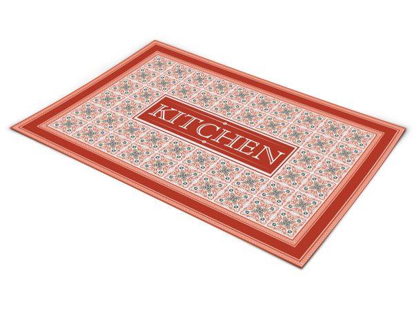 שטיח פי וי סי למטבח דגם כפרי אדום