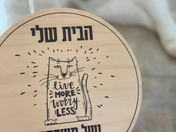 שלט כניסה לבית דגם חתול שולט