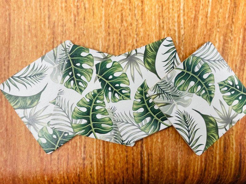 סט תחתיות לכוסות מעץ דגם אקזוטי