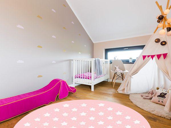 שטיח פי וי סי לחדר ילדות עגול דגם כוכבים מספר 3