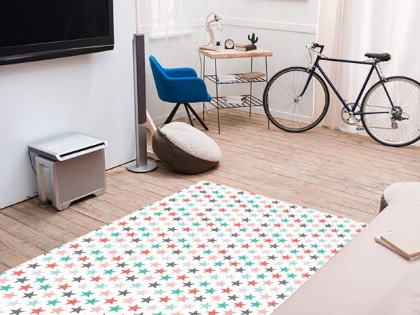 שטיח פי וי סי לחדר ילדים דגם כוכבים בצבעים