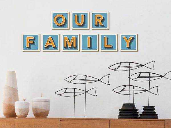 אותיות לקיר משפחה דגם Family מספר 1