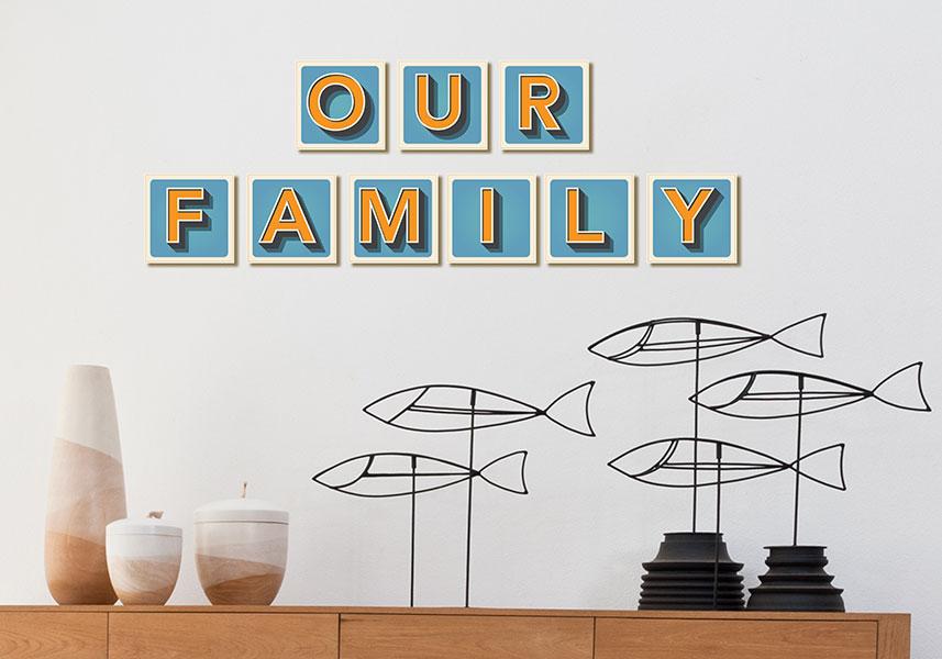 אותיות לקיר משפחה דגם Family 1