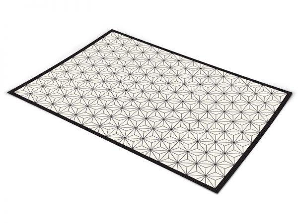 שטיח פי וי סי למטבח דגם צורות גאומטריות מסגרת שחורה