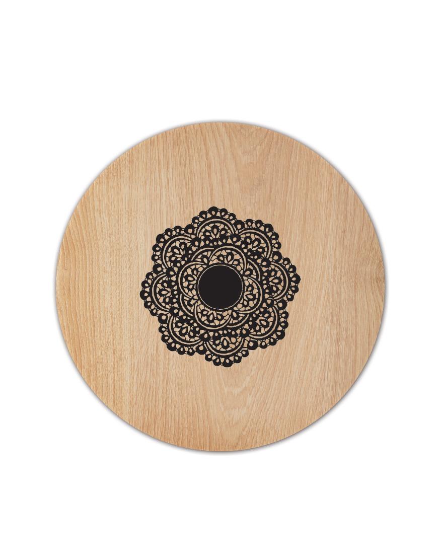 מפה פי וי סי עגולה דגם עץ טבעי עם תחרה שחורה